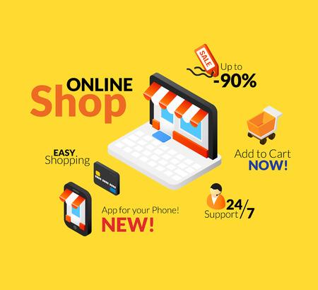 Las compras en línea Conjunto de la insignia, la tienda en Internet con interfaz web y de aplicaciones para el teléfono, el soporte de la línea, fácil tienda con tarjeta de crédito Ilustración de vector