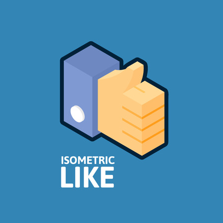 Blue thumb up icon, like symbol vector illustration