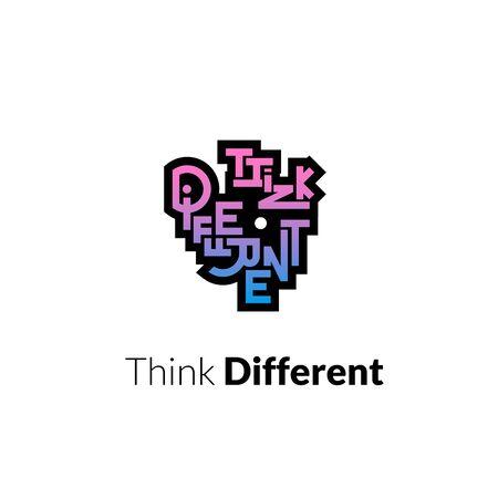 think different: Think different phrase, graffiti logo sign, concept icon vector symbol