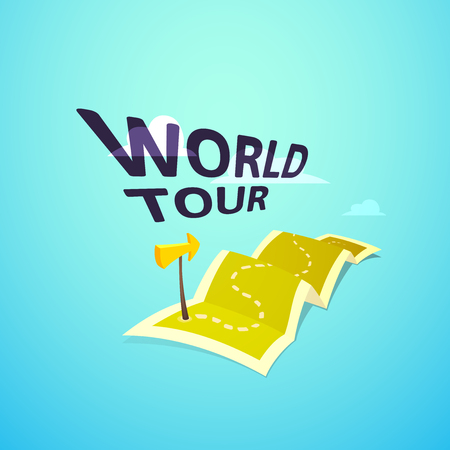 guidebook: World tour concept logo, long route in travel map with guide marker, vector illustration