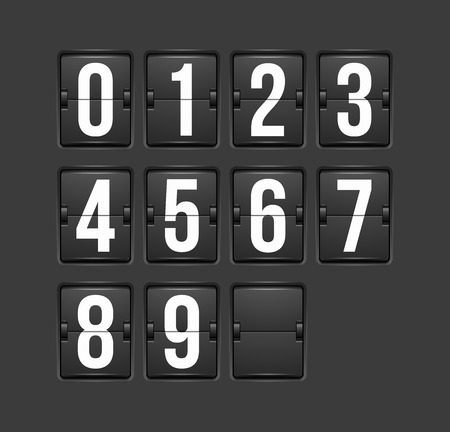 countdown: Countdown timer, white color mechanical scoreboard with different numbers Illustration