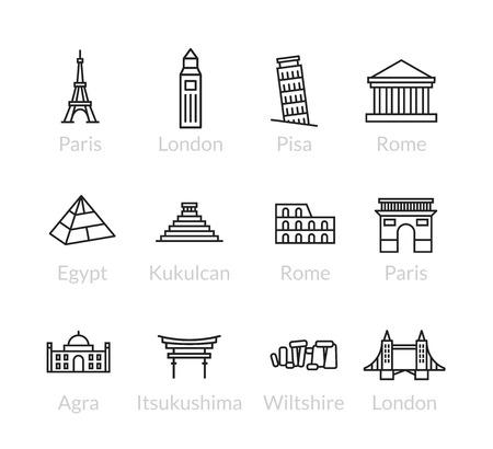 World landmarks outline icons, abstract vector set Illustration