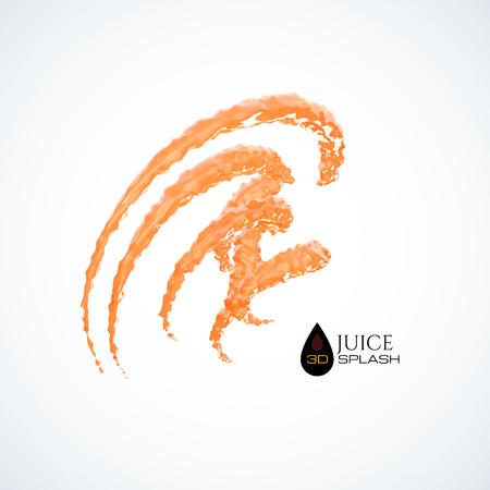 Orange 3D juice splash isolated on white, vector background Illustration