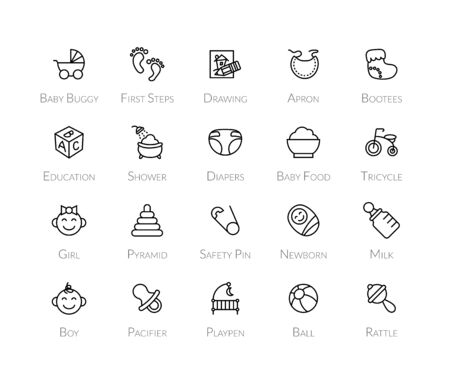 playpen: Outline icons thin flat design, modern line stroke style, web and mobile design element, objects and vector illustration icons set 27 - baby and childhood collection Illustration