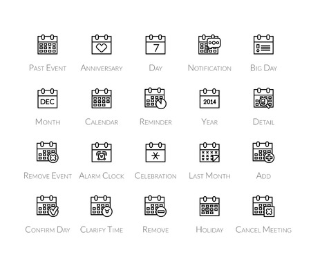 last year: Outline icons thin flat design, modern line stroke style, web and mobile design element, objects and vector illustration icons set 16 - calendar collection