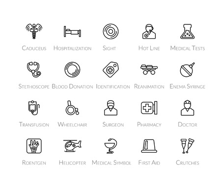 hospitalization: Outline icons thin flat design, modern line stroke style, web and mobile design element, objects and vector illustration icons set 19 - medical collection