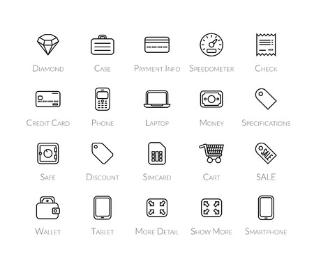 specifications: Outline icons thin flat design, modern line stroke style, web and mobile design element, objects and vector illustration icons set 9 - shopping and finance collection Illustration