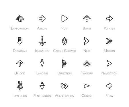 inmersion: Outline icons thin flat design, modern line stroke style, web and mobile design element, objects and vector illustration icons  set 28 - signs arrows collection