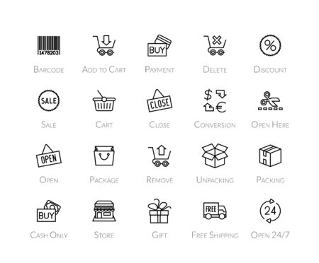 Outline icons thin flat design, modern line stroke style, web and mobile design element, objects and vector illustration icons set 20 - sales and retail collection 矢量图像