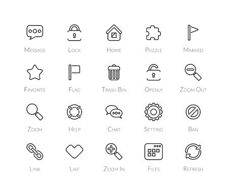 chat window: Outline icons thin flat design, modern line stroke style, web and mobile design element, objects and vector illustration icons set 1 - universal collection