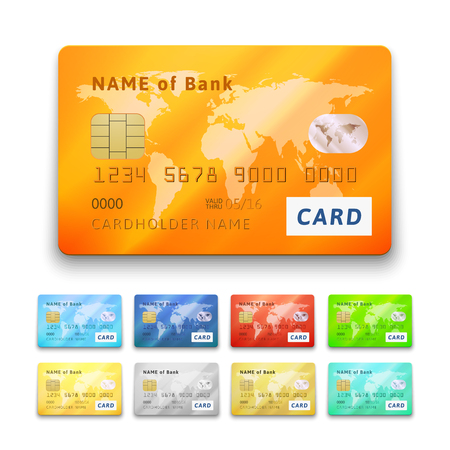 Set of detailed glossy credit cards, blue cyan red orange green yellow gold gray silver color, vector realistic icons isolated on white background Illustration