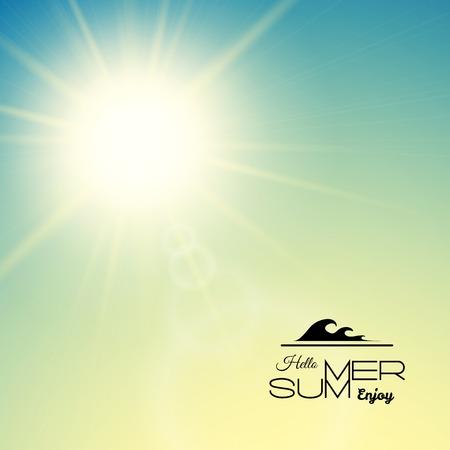 Fondo de verano con un sol de verano estalló con destello de lente, ilustración de vector de puesta de sol verde