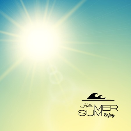 Summer background with a summer sun burst with lens flare, green sunset vector illustration Çizim