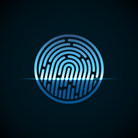 fingermark: Fingerprint identification system, with blue transparency light, vector background illustration Illustration
