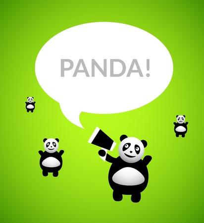 greed: Panda cartoon character isolated on greed background, vector illustration Illustration