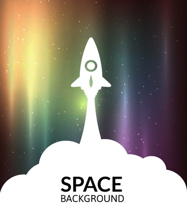 rocket: Yellow rocket and white cloud, icon in flat style, conceptual of start up new business project, take off of a business or project or extraterrestrial travel vector illustration