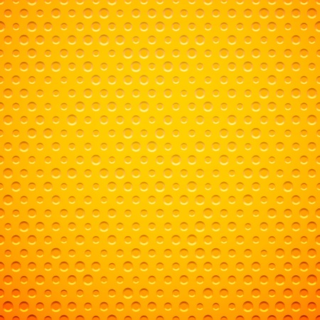 Yellow metal or plastic texture with holes, pattern background vector illustration Illustration