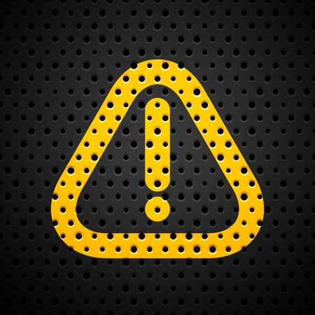 Attention yellow sign on black metal texture with holes, vector background illustration