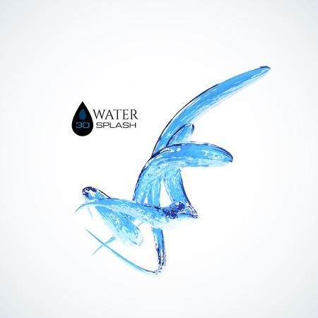 figuras abstractas: Salpicaduras de agua azul 3D aislado en blanco, vector de fondo Vectores