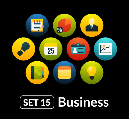 Flat icons vector set 15 - businnes collection, for phone watch or tablet