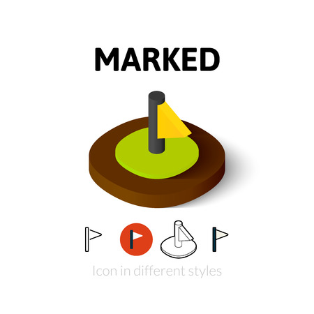 urgently: Marked icon, vector symbol in flat, outline and isometric style