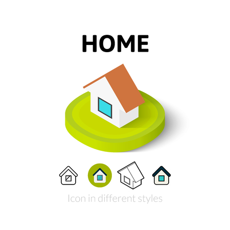 Home icon, vector symbol in flat, outline and isometric style