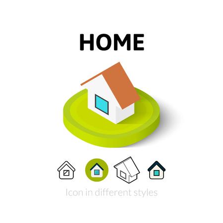 pictogram thuis, vector symbool in flat, schets en isometrische stijl