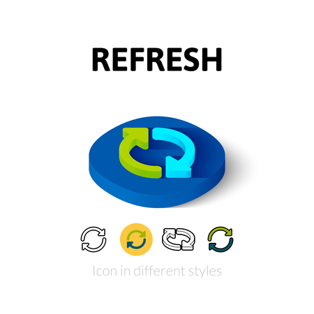 Refresh icon, vector symbol in flat, outline and isometric style Illustration