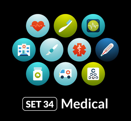 34: Flat icons vector set 34 - medical collection, for phone watch or tablet