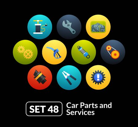 48: Flat icons set 48 - car parts and services, for phone watch or tablet