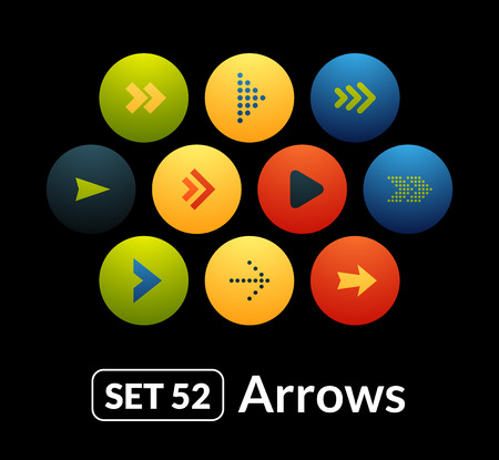 Flat icons vector set 52 - signs arrows, for phone watch or tablet Stock Illustratie