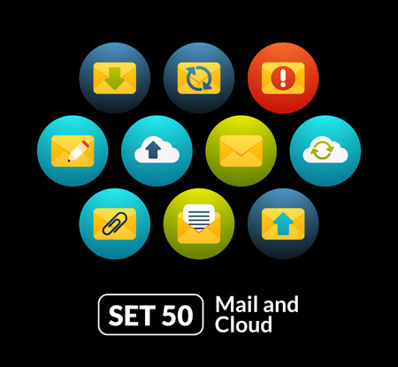 outgoing: Flat icons set 50 - mail and cloud collection, for phone watch or tablet