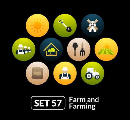 Iconos planos establecen 57 - granja y la agricultura, para el reloj del teléfono o tableta Foto de archivo - 46266595