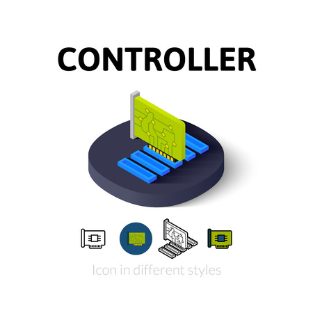 expansion card: Controller icon, vector symbol in flat, outline and isometric style Illustration