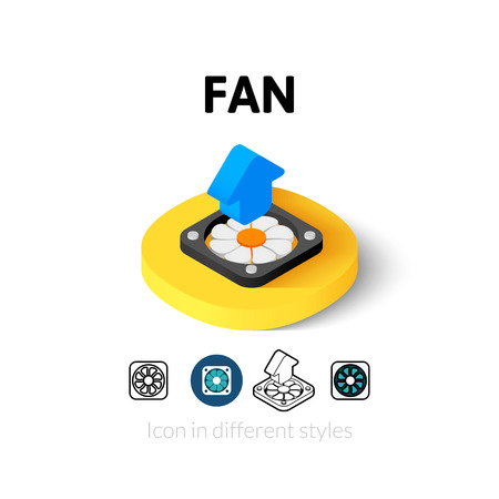 airflow: Fan icon, vector symbol in flat, outline and isometric style