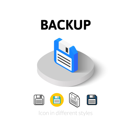 Backup icon, vector symbol in flat, outline and isometric style