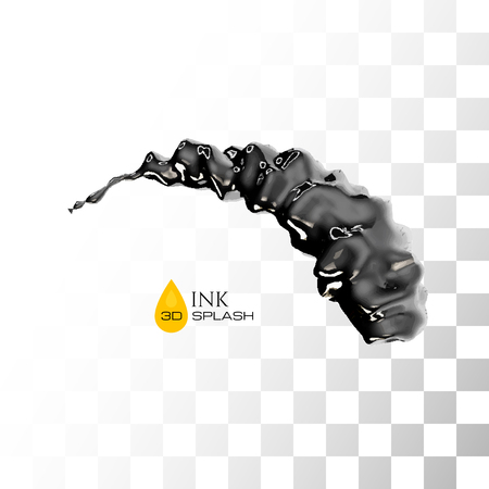Black 3D ink or oil splash isolated on white, vector background Illustration