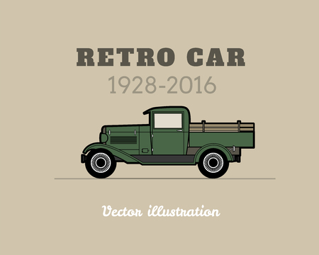 american vintage: Retro pickup truck car vintage collection, classic garage sign, vector illustration background, can be used for design card infographics Illustration