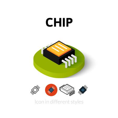 Chip pictogram, vector symbool in flat, schets en isometrische stijl