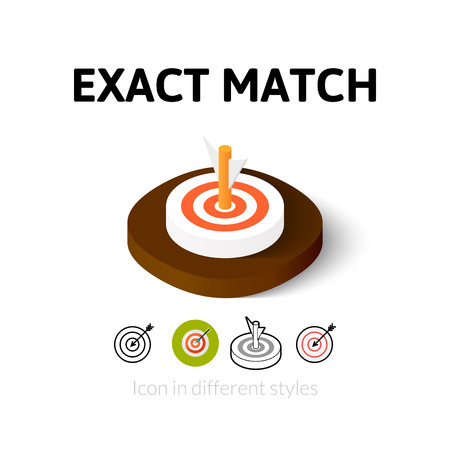 coincidence: Exact match icon, vector symbol in flat, outline and isometric style