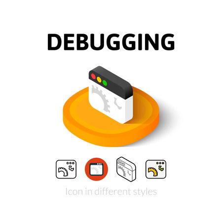 debug: Debugging icon, vector symbol in flat, outline and isometric style Illustration