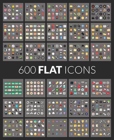 Grote pictogrammen instellen, 600 vector pictogram van platte gekleurde geïsoleerd op een grijze achtergrond