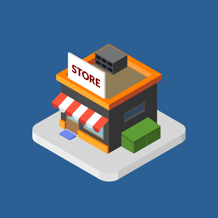 Flat isometric store, isolated vector icon, online shopping and e-commerce concept web market
