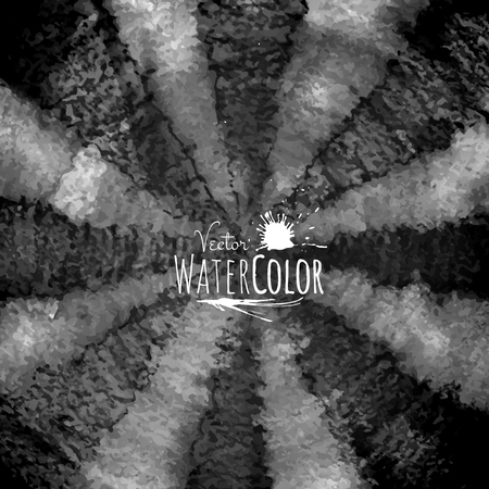 ink stain: Abstract vector hand drawn black and white watercolor background, stain ink on wet paper