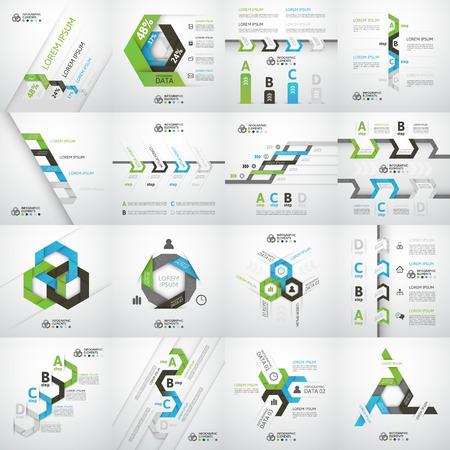 tecnología informatica: Paso de negocios moderno opciones de estilo origami bandera, ilustración vectorial Vectores