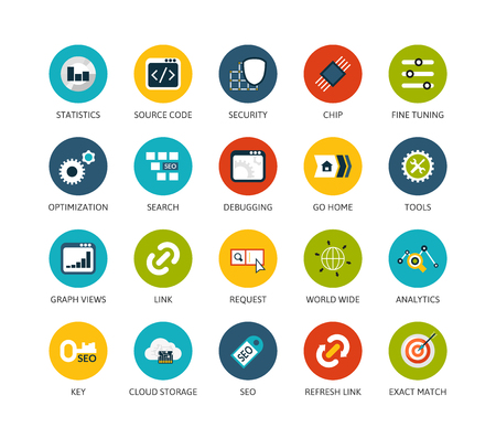 debugging: Round icons thin flat design, modern line stroke style, web and mobile design element, objects and vector illustration iconsset 22 - SEO and Development collection