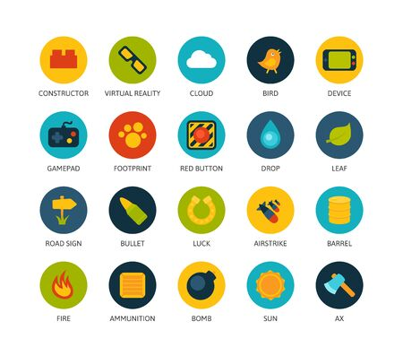 stroke of luck: Round icons thin flat design, modern line stroke style, web and mobile design element, objects and vector illustration icons set 4 - game collection Illustration