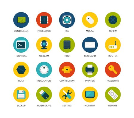 password: Round icons thin flat design, modern line stroke style, web and mobile design element, objects and vector illustration icons set 13 - computer collection Illustration