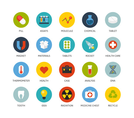 assays: Round icons thin flat design, modern line stroke style, web and mobile design element, objects and vector illustration icons set15 - science and medicine collection