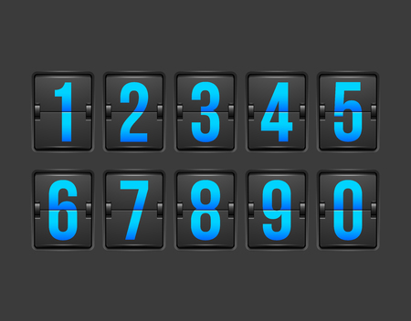 Countdown timer, white color mechanical scoreboard with different numbers Çizim